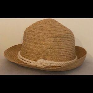 Straw fedora hat with twine